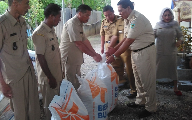 Bupati Serahkan Bantuan Beras Antisipasi Krisis Pangan