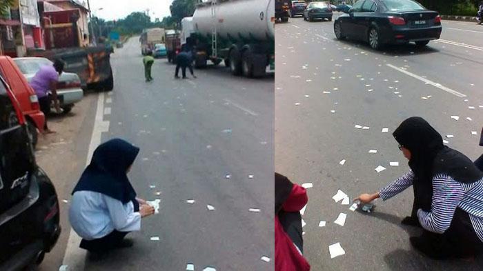 Serpihan Al Quran yang berhamburan di jalan
