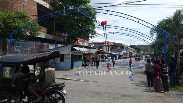 Lokasi Bazar Ramadan yang mulai dipasangi Kanopi