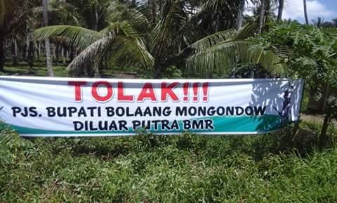 Spanduk penolakan PJs Bupati Bolmong
