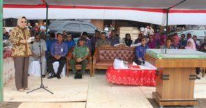 Wali Kota saat memberikan sambutan pada acara peletakan batu pertama proyek RSUD Kotamobagu