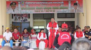 Bupati Adrianus Nixon Watung saat menjadi Irup pada pelaksanaan Hari Olahraga Nasional