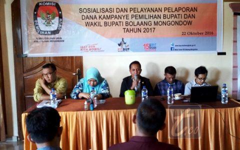 KPU Bolmong Gelar Sosialisasi Dana Kampanye