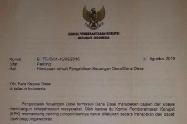 KPK Keluarkan Surat Untuk Kepala Desa Terkait Dana Desa