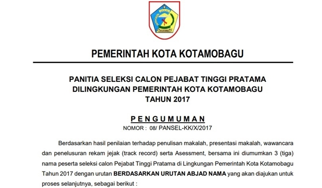 Inilah Nama-Nama Pejabat Yang Lolos Seleksi Jabatan di Pemkot Kotamobagu
