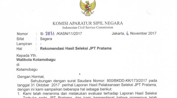 KASN Rekomendasi Hasil Seleksi Jabatan Pemkot Kotamobagu