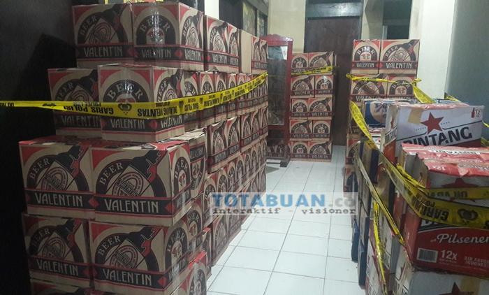 Opsnal Polres Bolmong Sita Tiga Ribuan Botol Miras Ilegal