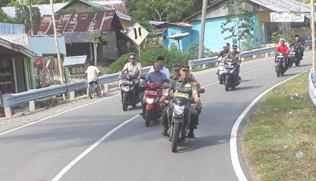 Mayjen TNI Johny Lumban Tobing dan Bupati Bolsel Naik Motor Tinjau Lokasi TMMD