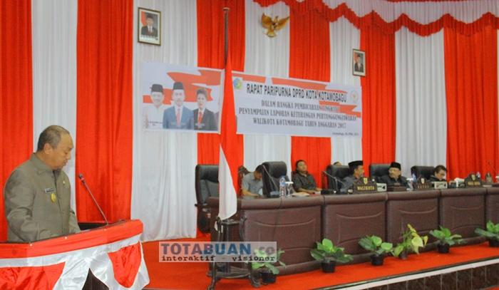 Walikota Kotamobagu Apresiasi LKPJ Tahun Anggran 2017 Diterima Enam Fraksi di DPRD