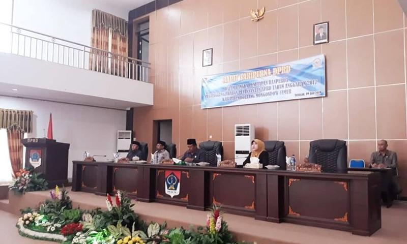 DPRD Boltim Gelar Rapat Paripurna Ranperda APBD Tahun Anggaran 2017