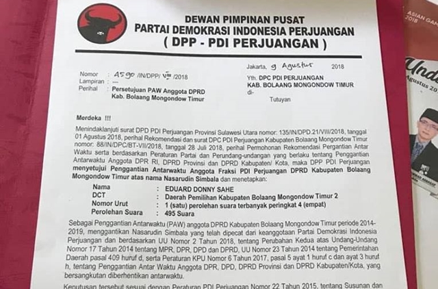 Loncat Partai, DPP PDIP PAW Anggota DPRD Kabupaten Boltim