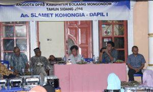 Anggota DPRD Bolmong Slamet Kohongia menggelar reses di Dapil I Bolmong.