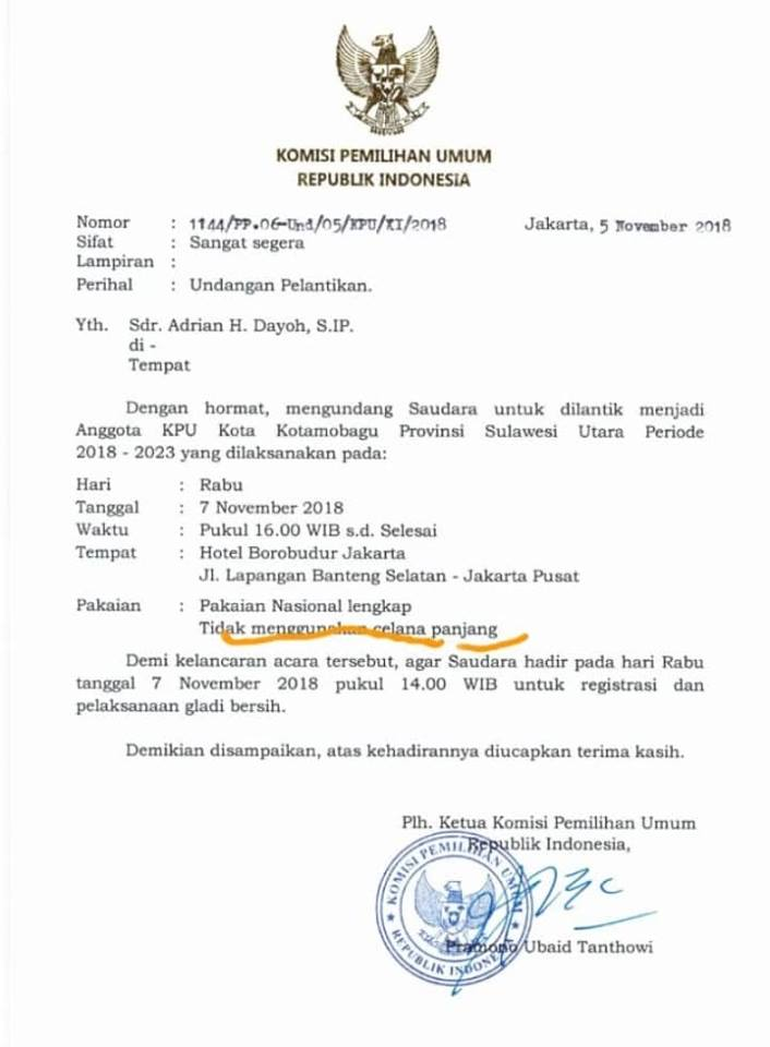 Surat Undangan Kpu Ri Totabuanco