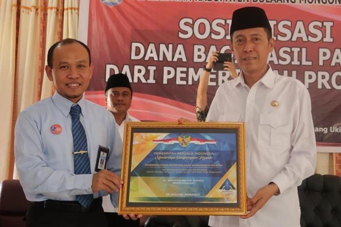 Kabupaten Bolaang Mongondow Selatan Terima Piagam WTP