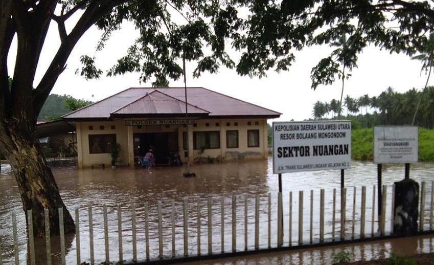 Polsek Nuangan Boltim Terendam Banjir