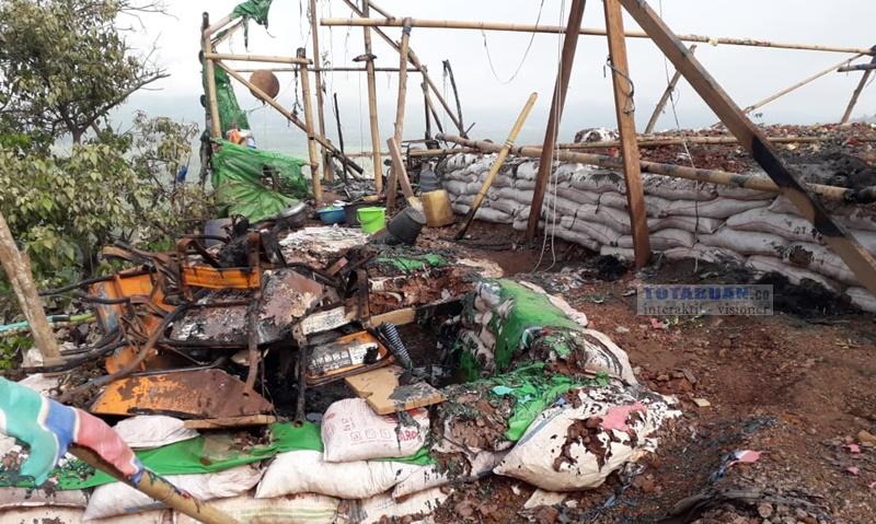 Beginilah Kondisi Kamp Pengolahan Emas Yang Dibakar Massa di Desa Bakan