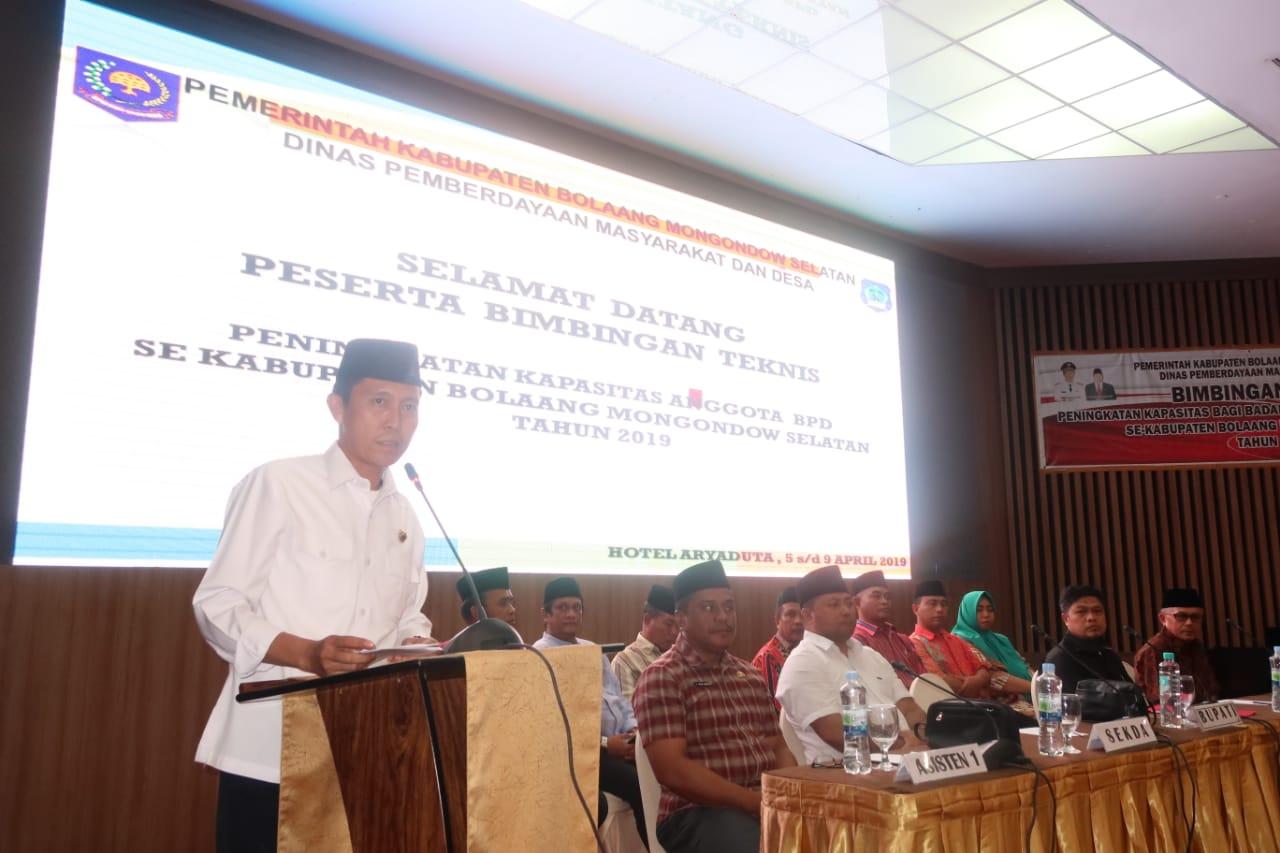 Bupati Buka Bimtek Peningkatan Kapasitas BPD se Kabupaten Bolsel