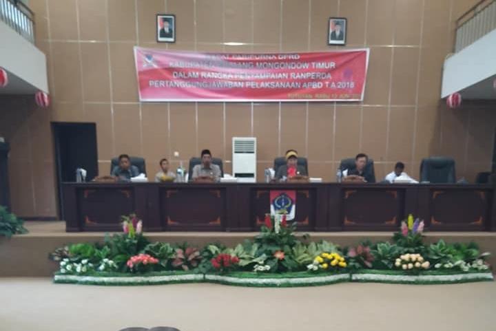 DPRD Boltim Gelar Paripuran Penyampaian Ranperda Pertanggungjawaban APBD 2018
