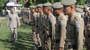 Pemeriksaan pasukan saat upacara penyambutan