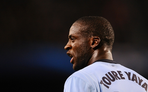 Manchester City's Yaya Toure shouts during a Champions League round of 16 second leg, soccer match between FC Barcelona and Manchester City at Camp Nou stadium, in Barcelona, Spain, Wednesday, March 18, 2015. (AP Photo/Manu Fernandez)